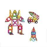 GsMeety Blocchi Costruzioni Magnetiche 82 Pezzi Giocattoli Educativi Kit, Giocattoli Educativi Imparare Carte di Colori Forme 3D Attraverso Ferris Wheel/Car/Robot