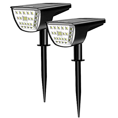 WAKYME 32 LED Solar Landscape Spotlight, 2-in-1 Led Solar Spotlight IP67 Waterproof Solar Spot Lights Outdoor for Yard Garden Porch Walkway Driveway Pool Patio Cool White 2 Pack