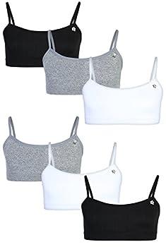 Limited Too Girls Seamless Training Sports Bra with Adjustable Straps 6-Pack Black/White/Heather Grey Medium/10-12