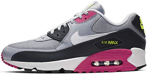 Nike Mens Air Max 90 Running Shoes Wolf Grey/White/Rush Pink/Volt AJ1285-020 Size 12