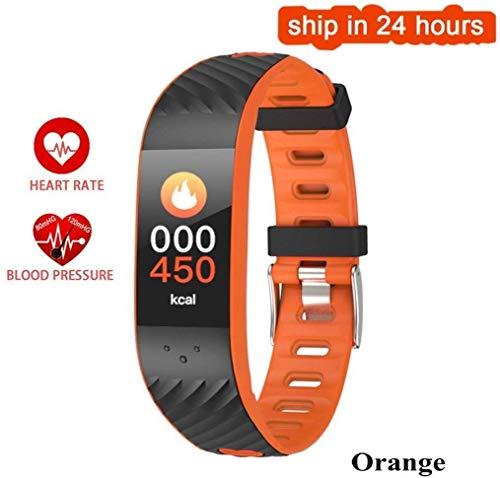 Fitness polshorloge, smartwatch, fitness, passometer, intelligente band, bloeddrukmeter, hartslagmonitor, voor Xiaomi Android iOS, haarband (kleur: blauw) M, Oranje