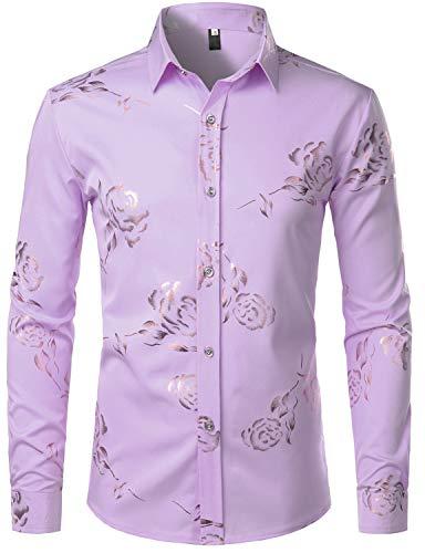 ZEROYAA Mens Hipster Gold Rose Printed Slim Fit Long Sleeve Dress Shirts/Prom Performing Shirts Z56 Lavender Medium