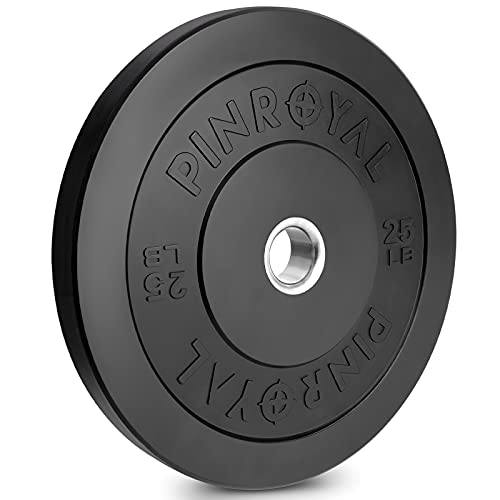 PINROYAL Bumper Plate 25LB, Olympic Weight Plate with 2 inch Stainless Steel Hub, Rubber Barbell Weights to Protect Floor, Smooth Strength Training Plate to Protect Bar from Scratches, Single