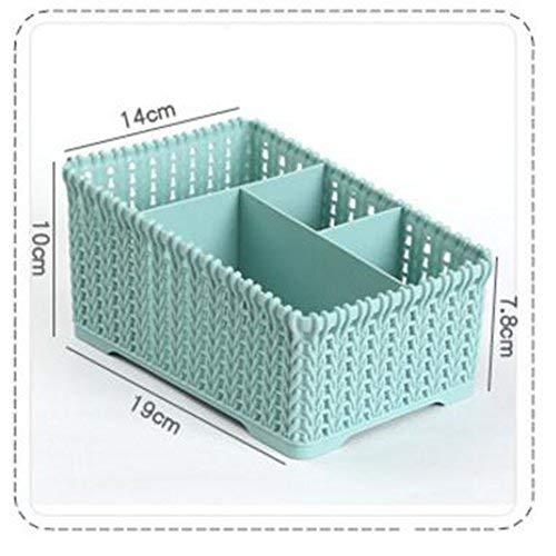 Wicemoon 4 Grid Sub-Grid Boîte de Rangement en Plastique Desktop Classification Organiseur Support étui de Rangement récipient de Panier pour télécommande Cosmétique Support, Plastique (Gris)