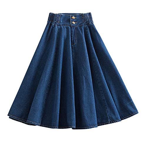 Women's Vintage A-Line Skater Skirt Denim Midi Elastic Waist Pleated Jean Skirts (Blue, Large)