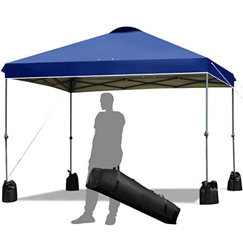 COSTWAY 3x3m Pop-up Gartenpavillon mit 4 Sandsäcken, Faltpavillon Pavillon Sonnenschutz, Faltzelt Partyzelt wasserabweisend, Gartenzelt inkl. Tragetasche (Blau)