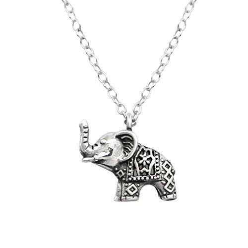 Monkimau Damen Ketten Elefant Anhänger aus 925 Sterling Silver echt Silber oxidiert mit 45cm Kette