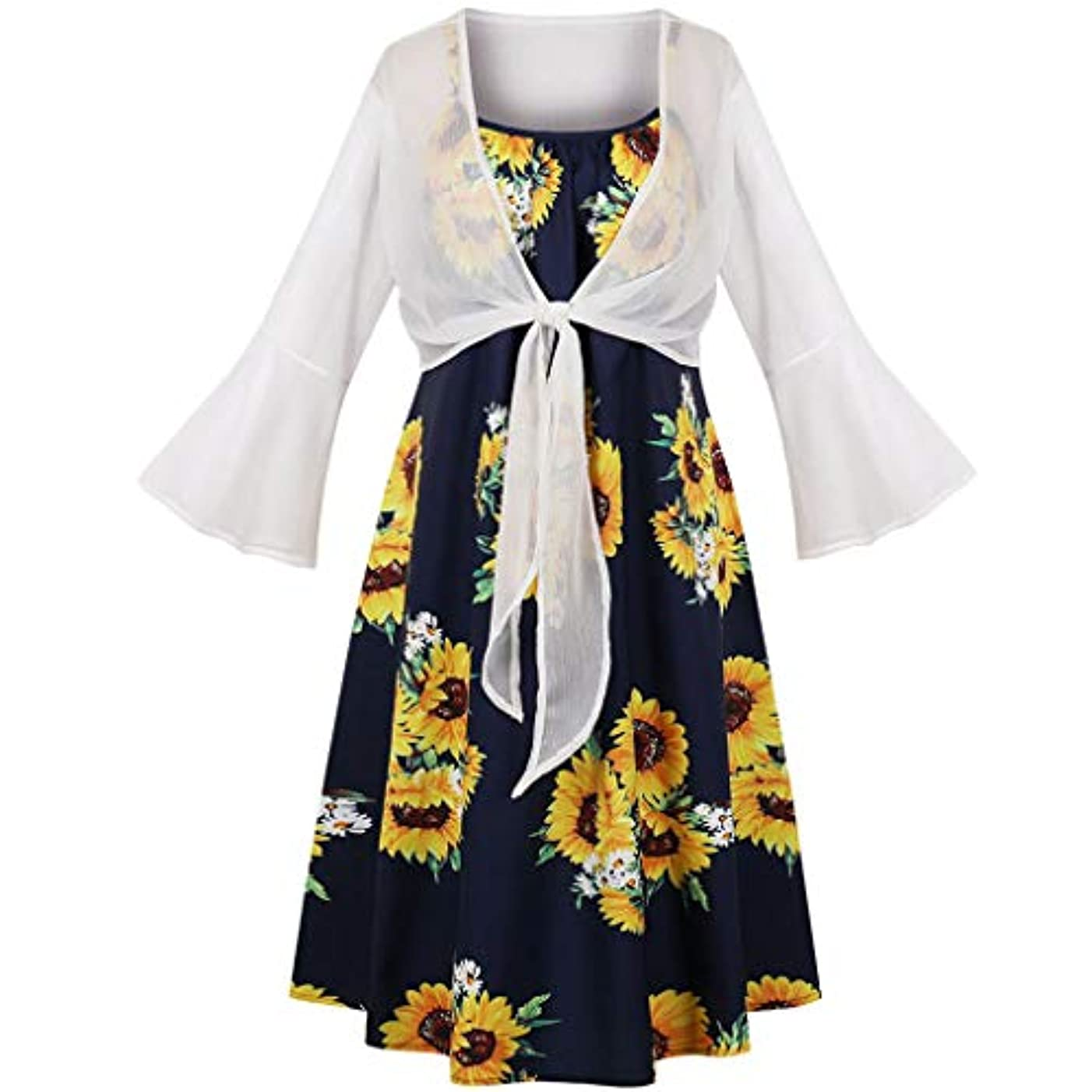 HJuyYuah 2PCS Fashion Women Bandage Sunflower Print Dress+Flare Sleeve Cardigan Suits