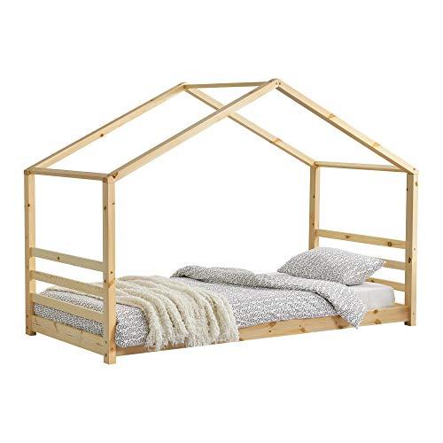 [en.casa] Kinderbed houten bed huisbed met bedbodem 90x200 hout