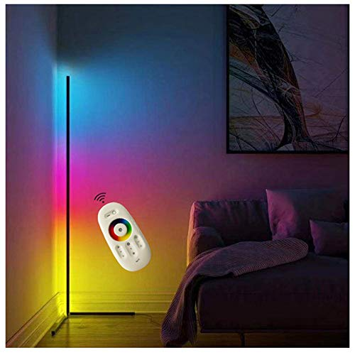XXLYY Lámpara de pie de Esquina Minimalista nórdica RGB, 140 cmLED Lámpara de pie de Esquina Regulable Lámpara de pie Moderna Negra Regulable con Control Remoto (Negro)