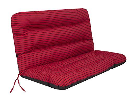 Cojín para columpio de jardín • Cojín para banco • Cojín para banco • Cojín de asiento y respaldo • Ancho del asiento 120 cm • Rayas rojas.