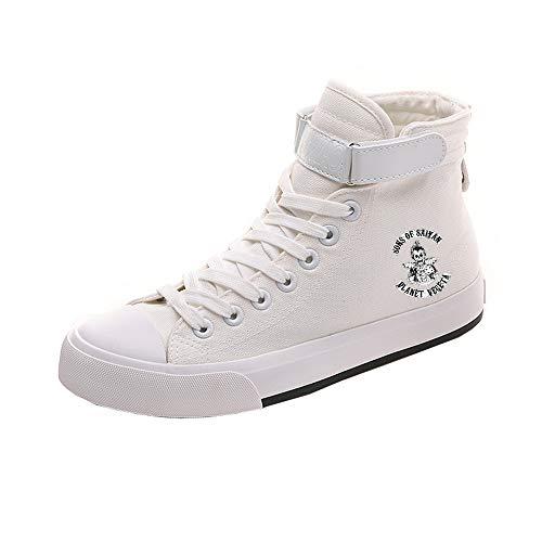 Dragon Ball Schuhe Street Style Volltonfarbe Britische Art Freizeitschuhe Student Schuhe Segeltuchschuh rutschfest (Color : White01, Size : EU40 US8.5)