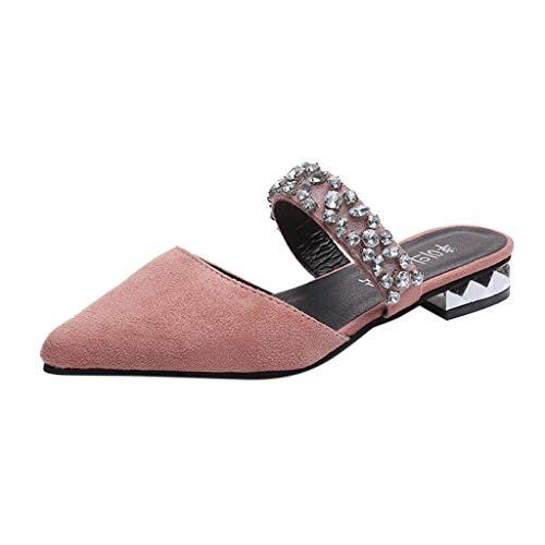Damen Dicker Boden Sandalen, LeeMon Womenmode lässig Punkt Zehe Crystal Work Schuhe Women Square Heel Schuhe