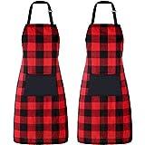 2 Piezas Delantal de Cocina de Algodón Delantal a Cuadros Buffalo Ajustable Delantal de Repostería con Bolsillo para Navidad Cocinar Hornear Manualidades (Negro y Rojo)