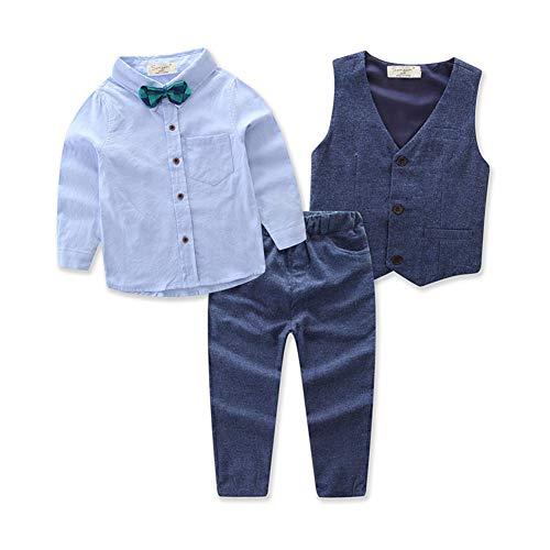 Carolilly Jungen Anzug mit Weste Hemd Gentleman Kinderanzug Hochzeit Taufe Festlich Outfit(1-7Y (6-7 Jahre, Blau 2)