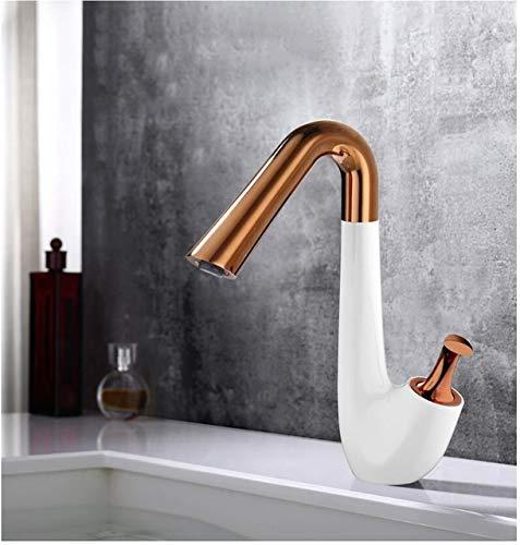 G0000D - Grifo de lavabo de baño de oro rosa blanco y blanco de grúa caliente y fría grifo de latón para lavabo de rotación 360 grifo de fregadero de una sola manija de agua == Calidad superior y envío gratis