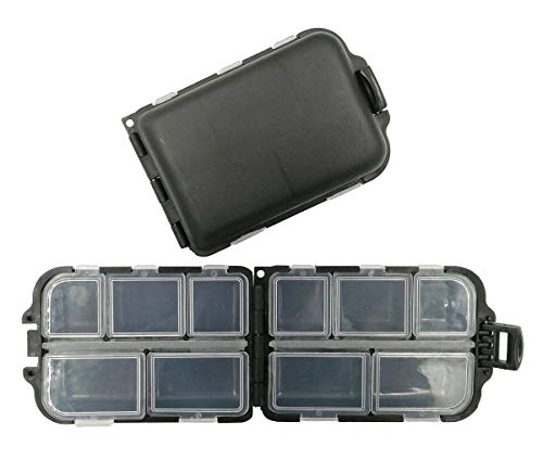 Drchoer 2X Small Waterproof Hard Fishing Tackle Box Portable Case Hooks Lure Baits Storage Box Containers for Storing Swivels Jigs Hooks Sinker,10 Compartments (Black)