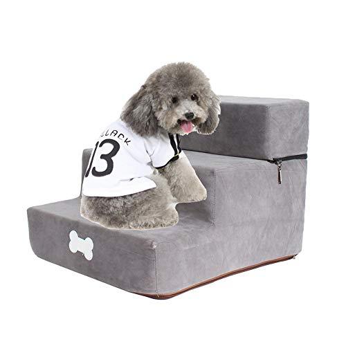 Escalera para perros, 3 pasos, escalera de gato desmontable, felpa para perros pequeños, escalera para mascotas, escaleras para perros, escaleras para mascotas, sofá escalonado, escalera para mascotas
