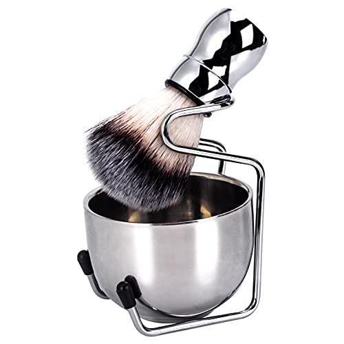 Wskderliner Juego de Afeitado para Barba para Hombres de Herramientas con Brocha de afeitar Soporte de Brocha Jabón de Afeitar Tazón(Plata)