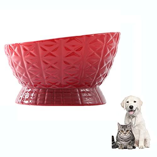LPWCAWL Cuenco De Cerámica para Comida para Gatos,Cuenco De Comida para Gatos De Porcelana con Diseño Inclinable,Antideslizante Alimentacion Plato Alimentador,Mascotas Bebedero,Rojo