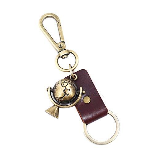 Weimay 1 Stück Kreativer Schlüsselanhänger Kunstleder Design,Legierungsmaterial Key Organizer Einfacher Stil Globus-Modellierung Anhänger(Braun)