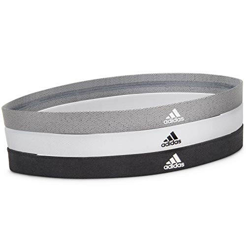 Adidas Sports Hair Bands - Black, White, Grey (3 Pack)