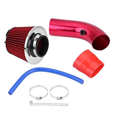Kit de filtro de admisión de aire, 3'/76mm Universal Car Filtro de inducción frío Manguera de tubo de aleación de aluminio Kit de alto flujo Kit de tubo de manguera de inducción(rojo)
