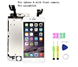 Screen Replacement Compatible with iPhone 6 4.7 inch Full Assembly - LCD Touch Display Digitizer with Ear Speaker, Sensors and Front Camera, Fit Compatible with iPhone 6 (White)
