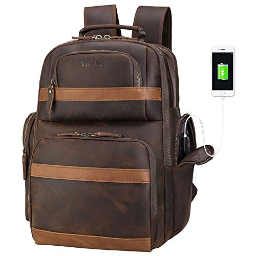 Tiding Leather Backpack 15.6 inch Laptop Backpack Vintage Business Travel Bag Large Capacity School Daypacks with USB Charging Port & YKK Zippers