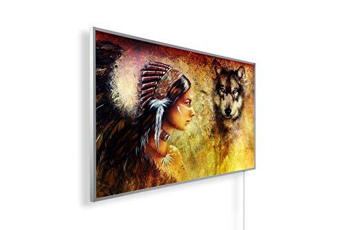 Könighaus Fern Infrarotheizung – Bildheizung in HD Qualität mit TÜV/GS - 200+ Bilder - 600 Watt (78. Indianer und Wolf)