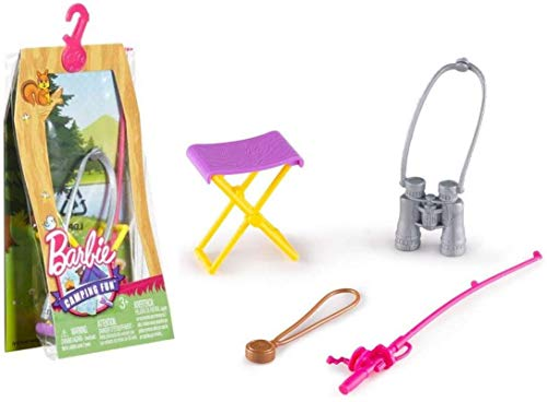 Barbie Camping Fun Accessory Pack-Fishing Pole, Compass, Binoculars 4 Pieces