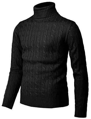 H2H Mens Casual Slim Fit Pullover Sweaters Knitted Henley Long Sleeve Thermal Black US M/Asia L (CMOSWL045)