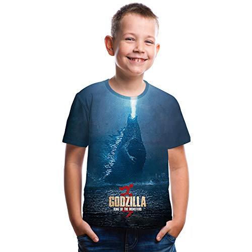 Godzilla's Jungen Shirt Monsters Motra Jungen Shirt Funny Kids 3D Print Short Sleeve T-Shirt Kinder T-Shirt - Blau - Höhe 160 cm (12-13 Jahre)