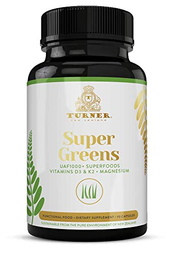 TURNER Super Greens Capsules with UAF1000+, Wheat Grass Supplement, All-Natural New Zealand Green Superfood Energy, Essential Veggies, Antioxidants, Enzymes, Detox & Cleanse, 90 Capsules, 1 Bottle
