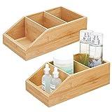 mDesign Juego de 2 cajas organizadoras con 3 compartimentos – Gran cajón de madera de bambú para...
