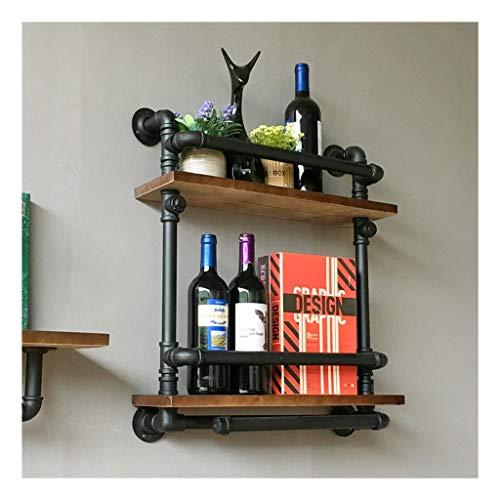 LCHY TB-wandplank, industrieel retro massief hout waterpijp wijnrek wandmontage muur wijnkast wijnrek wijnrek wijnrek wijnrek wijnglas rek rek rek