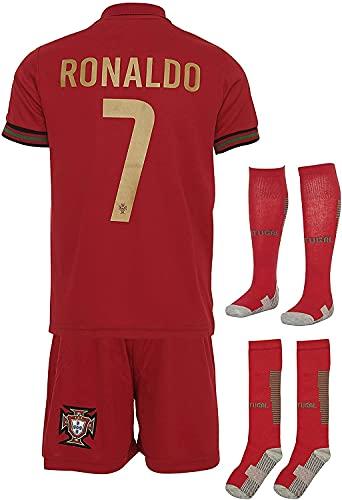 PPOI Portugal Ronaldo # 7 2020 Camisa para el hogar y Pantalones Cortos con Calcetines y Envoltura Pulsera Niños y jóvenes Tamaño (Color : Red, Size : M)