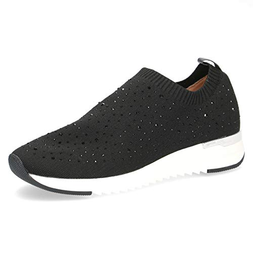 CAPRICE Damen Halbschuhe, Frauen Low-Top Sneaker,lose Einlage,Weite: G (Normal),sportlich,weiblich,Lady,Ladies,Woman,Black Knit,38 EU / 5 UK