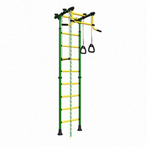 (verde) parque infantil para niños que conecta al suelo y techo/interior gimnasio Entrenamiento deporte con accesorios equipamiento: barra de trapecio columpio, escalador, gimnástica - cometa 2 anillos