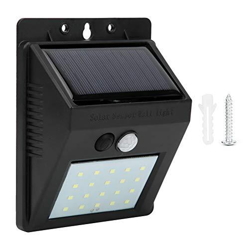 Jarchii 20Led Solarbetriebene intelligente Solarwandleuchte, Umweltschutz Schwarz 20LED Wandleuchte, für die Garten-Haustür im Freien