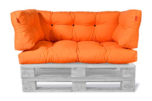 ECO Palettenkissen Palettensofa Palettenpolster Palettenauflagen Sofa Kissen Polster Auflage Outdoor Indoor Gesteppt für 120 x 80 cm Europaletten (Sitzkissen + Rückenkissen) (Orange, Set 4)