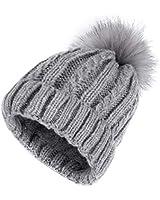 Juhe Womens Winter Beanie Hat, Warm Fleece Lined Knitted Soft Ski Cuff Cap with Pom Pom (Gray)