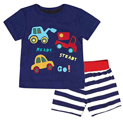Fiream Baby Boy Summer Clothes Soft Cotton Blue T-Shirt & Stripe Shorts 2 Packs, Casual Cute Baby Summer Clothes Boy Adorable Car Print Design for School Party Outdoor Play, Size 18-24 Months, JP046