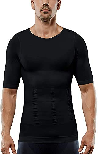 QWERT Men's Shaper Slimming Compression T-Shirt, Compression Shirt, Seamless Short Sleeve, Athletic Sports Running Shapewear Undershirt (M,Black)