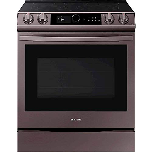 SAMSUNG NE63T8711ST 6.3 cu. ft. Front Control Slide-in Electric Range with Smart Dial, Air Fry & Wi-Fi in Tuscan Stainless Steel