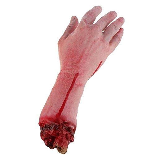 Keersi realista látex Gory brazo humano mano tamaño vida espantoso sangre sangrienta cuerpo partes para Halloween vestido de fiesta de disfraces jardín interior exterior y decoración de cosplay