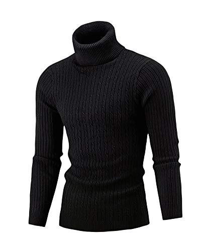 Homme - Pull - Col Roulé - Manches Longues - Chandail en Tricoté Noir M