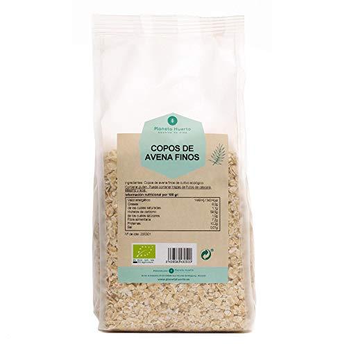 Planeta Huerto   Copos de Avena Finos Integrales y Ecológicos 500 gr   Cereales Ricos en Omega 3, Fibra, Proteínas y Vitamina B1   Alimentos Orgánicos, Biológicos Para Desayunos y Cocina Saludable
