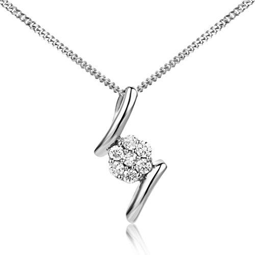 Miore - Collana da donna in oro bianco 9 ct e oro 375 con ciondolo con diamanti da 0,10 ct, lunghezza 45 cm