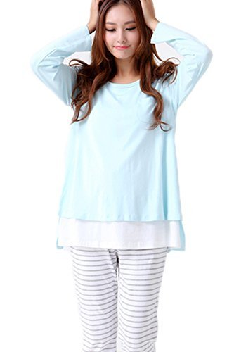 Smallshow Women's Maternity Nursing Pajamas Set 2 Pcs Breastfeeding Top and Pant,Blue,Size M